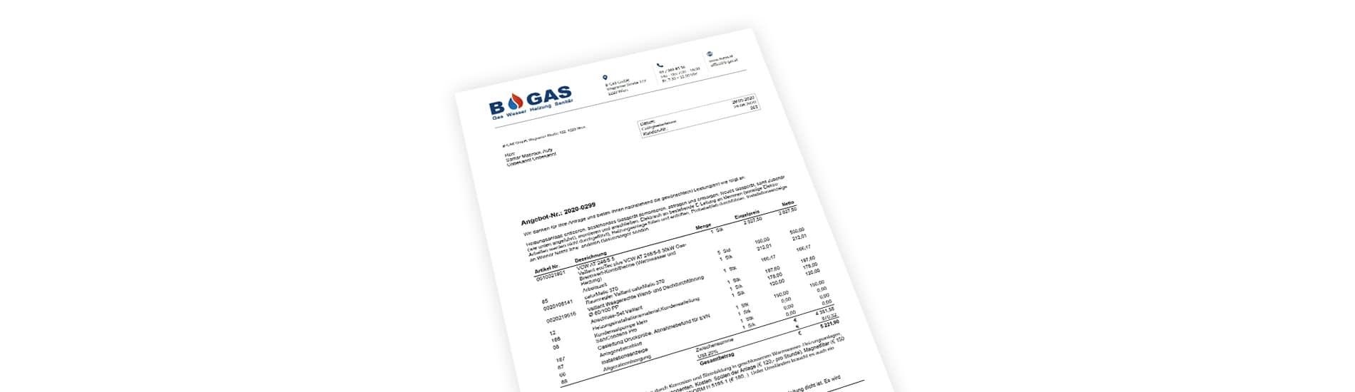 Gratis Kostenvoranschlag/Angebot